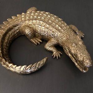 Vintage gold alligator crocodile statue  accent